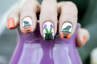 Pumpkin and Witch Legs Nail Art Design