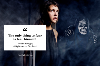 quote Freddie Krueger scared woman with monster behind her