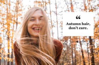 Woman with long blond hair having fun in autumnal park