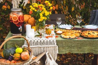 Autumn brunch table in the backyard
