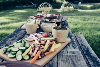 Appetizers on a table at outdoor party