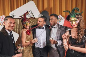 Friends having fun at a glamourous casino's party