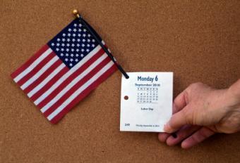 flag and calendar
