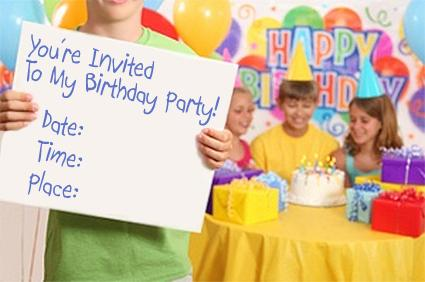 child holding birthday party invitation printing party invitations