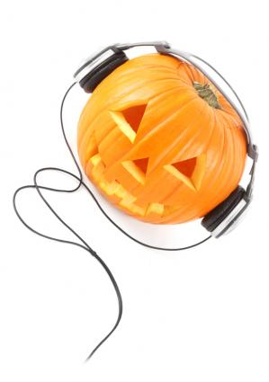 Pumpkin with headphones