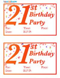 Free Printable St Birthday Invitations LoveToKnow - 21st birthday invitation templates