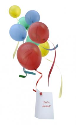 balloons with invitation