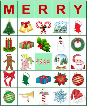 Printable Christmas bingo card