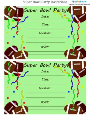 Football Streamer Super Bowl Invitation