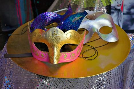 Mardi Gras mask centerpiece; copyright Dwight Smith at Dreamstime.com