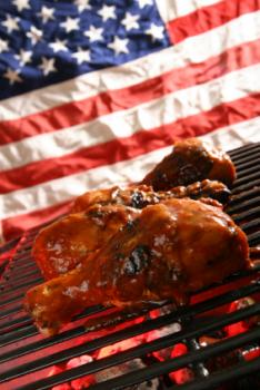 Grilling chicken on the Fourth of July
