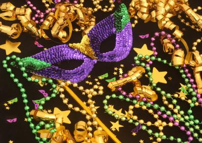Mardi Gras beads and mask