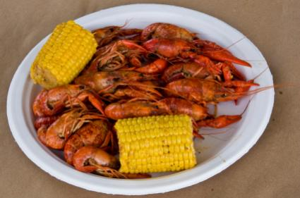 Image of boiled crawfish and corn