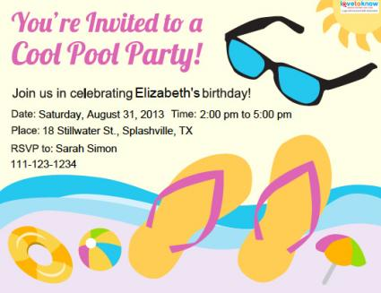 Pool party invitations lovetoknow teen pool party invitation stopboris Images