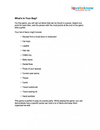 What's in Your Bag? home party game