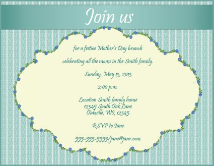 Motheru0027s Day Brunch Invitation  Gathering Invitation Sample