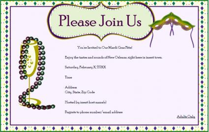 picture relating to Free Printable Mardi Gras Invitations identify Mardi Gras Occasion Invites LoveToKnow