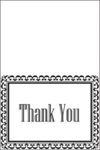 black and white thank you card