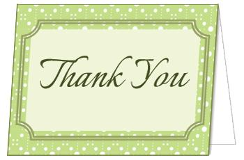 green polka dot thank you card