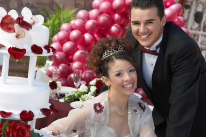 Girl and boy at quinceanera