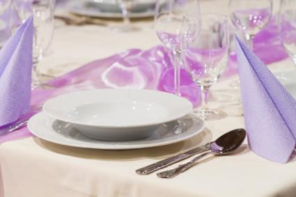Purple formal party place setting