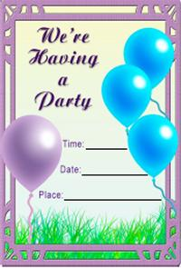 Party Balloons Invite