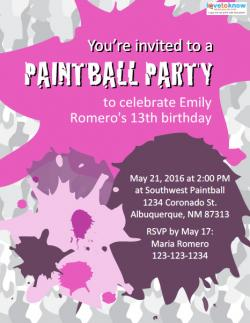 Free Printable Paintball Party Invitations 2 pink ex