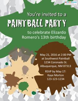 Free Printable Paintball Party Invitations | LoveToKnow