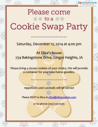 Cookie Swap Invitations To Print Lovetoknow