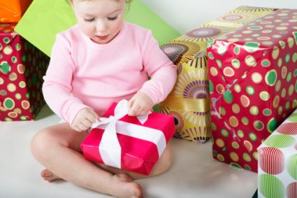 toddler opening gift