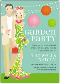 Paper Style garden party invitation