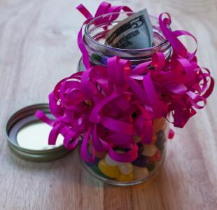money candy jar gift wrap