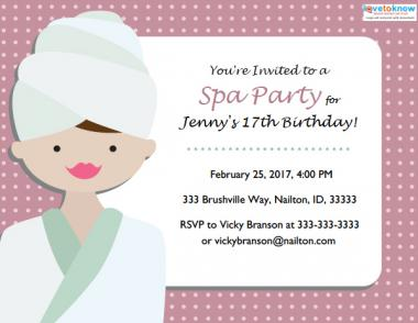 Spa Party Invitations Lovetoknow