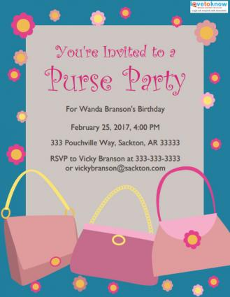 purse party invitation