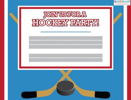 Click to edit the hockey party invitation.