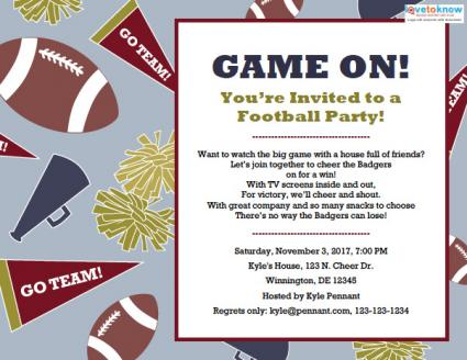 Football party invitations lovetoknow football party invitation stopboris