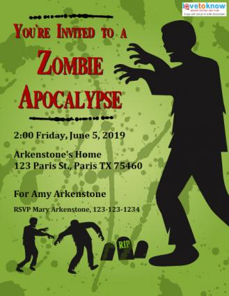 Zombie Party Invitations