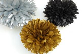 Gold, Silver and Black Tissue Poms