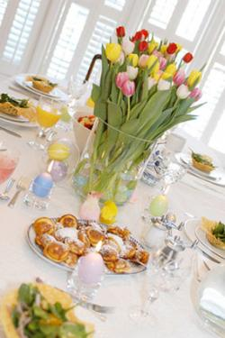 Easter table set for brunch