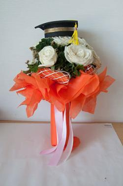 floral mortarboard centerpiece