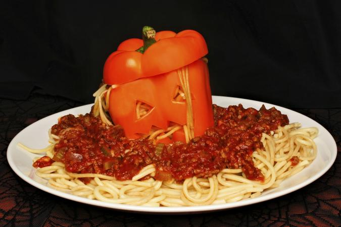 Halloween spaghetti stuffed pepper