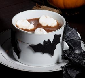Halloween hot chocolate with bat marshmallows