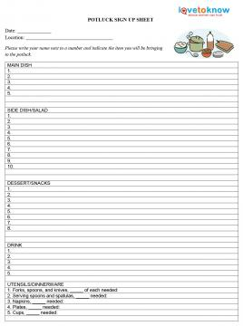 Printable Potluck Sign Up Sheets
