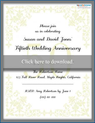 Printable 50th Anniversary Invitation