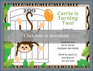 Zoo Monkey Birthday Invitation Template 2