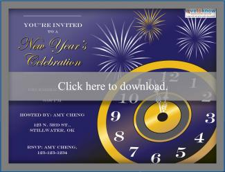 new years eve party clock invitation