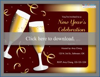 new years eve party champagne template invitation