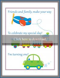 Transportation theme invitation