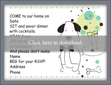 a doggie dinner card