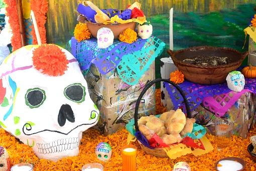 Day of the Dead decorations and altar